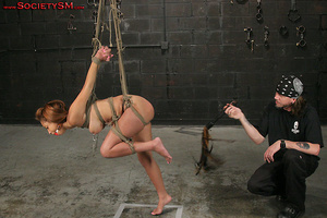 Sexy brunette roped, suspended, folded a - XXX Dessert - Picture 15