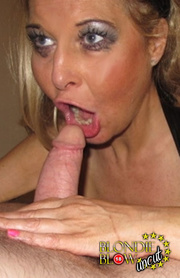 blonde girl opens mouth
