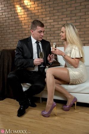 Chic blonde in sexy short dress drop dri - XXX Dessert - Picture 1