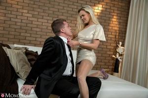 Chic blonde in sexy short dress drop dri - XXX Dessert - Picture 4
