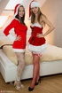 Hot cute brunettes in Xmas jackets kiss, lick tits, cunts and fuck with