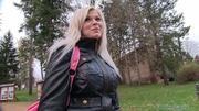naughty blonde black coat