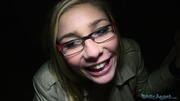 blonde glasses black top