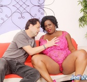 Chubby ebony in pink dress sucks cock, gives tits job and fucks for cum