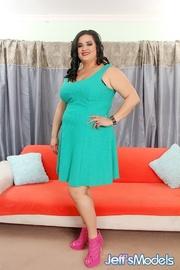 hot brunette green dress