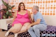 chubby brunette pink dress