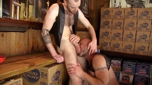 Two tattooed horny men in black jackets  - XXX Dessert - Picture 3