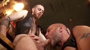Two tattooed horny men in black jackets  - XXX Dessert - Picture 4
