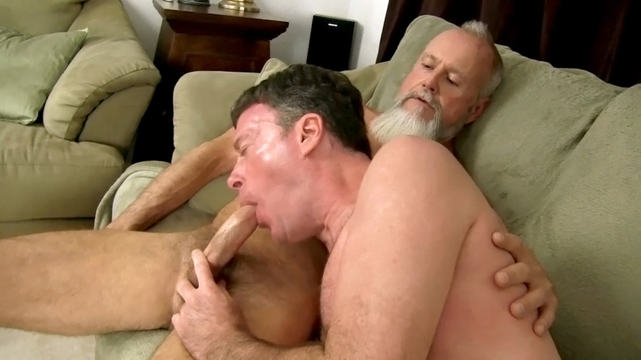 Muscular office hunk fucks two dudes