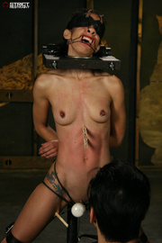 blindfolded hottie with pierced