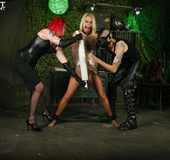 Foxy blonde with indulging boobs gets gagged with a red ball while bounded