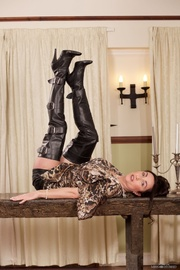 seductive babe leather boots
