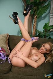 alluring blonde woman purple