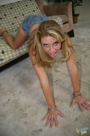 playful petite chick abuses