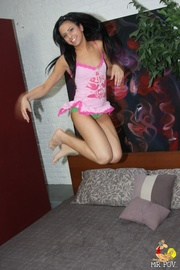 playful teen takes off