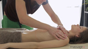masseur licks skinny brunette's