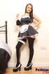 Teen babe with big boobs dresses up as naughty maid then strips!