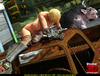 Small blonde with saggy tits is taken in a junk yard by a huge clawed