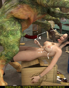 Steampunk slut gets on top of scary monster and jacks him off.