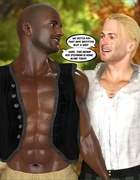 Hot redhead in an apple-colored dress does a white guy and a black guy