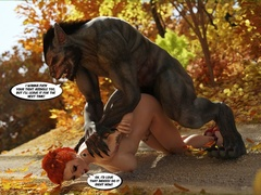 Big-titted red riding hood gets fucked by Wolf on the - Picture 3
