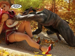 Red riding hood gets stopped by Wolf on the road to - Picture 2