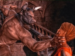 Brunette brings a minotaur statue to life to get - Picture 2