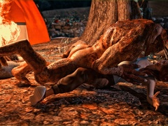 Lizard man fucks a redhead on forest ground by the - Picture 1