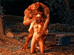 Lizard man fucks a redhead on forest ground by the - Picture 2