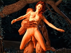 Lizard man fucks a redhead on forest ground by the - Picture 4