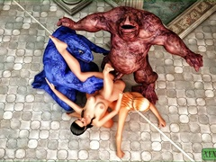 Twin monsters play, share, and fuck a single horny - Picture 3