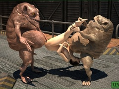 Twin monsters play, share, and fuck a single horny - Picture 4