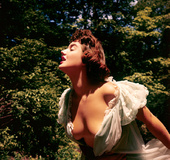 Tasty country babe in hot negligee can't hide sexy tits and ass outdoors
