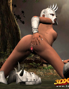 Woman with dark nipples wears a white mask and boots while masturbating