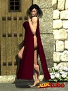 Fit and busty sorceress strips and teases her body at the gate.
