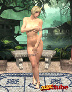 Warrior princess strips on a bench and teases her body.