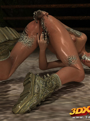 Slutty mutant chick fingers her wet pussy with her - Picture 7