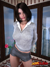 Pretty black haired girl in office attire strips in the office