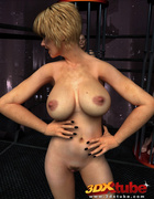 Two caged sluts watch a busty blonde spread her legs to reveal a juicy,