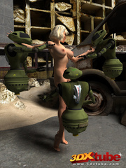 Damn hot blondie enjoys as three robots pleasure her - Picture 2