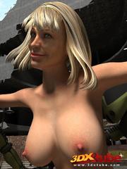 Damn hot blondie enjoys as three robots pleasure her - Picture 4