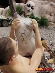 Foxy android babe with big tits love real cock - Picture 8