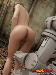 Hot blonde babe gets her wet pussy fucked by robot - Picture 2