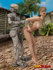 Hot blonde babe gets her wet pussy fucked by robot - Picture 7