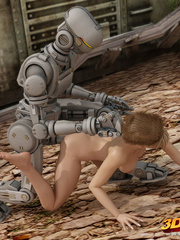 Hot blonde babe gets her wet pussy fucked by robot - Picture 8