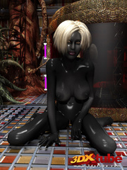 Shadow black alien babe with white hair pleasures her - Picture 5