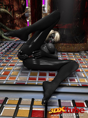 Shadow black alien babe with white hair pleasures her - Picture 7