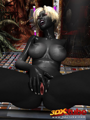 Shadow black alien babe with white hair pleasures her - Picture 8