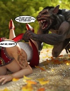 Busty slut in red gets fucked by a monster on the road.