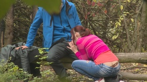 Redhead teen chick sucks and rides huge dick in the woods - XXXonXXX - Pic 3